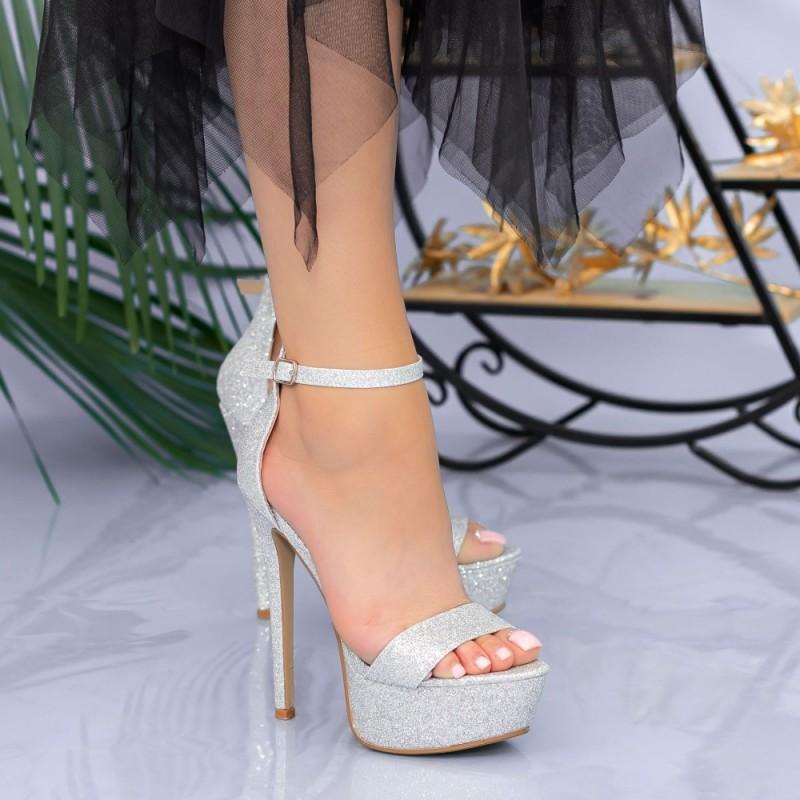 Sandale Dama cu Toc subtire si Platforma XKK171A Silver Mei