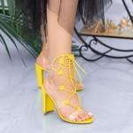 Sandale Dama cu Toc gros XKK213 Yellow Mei