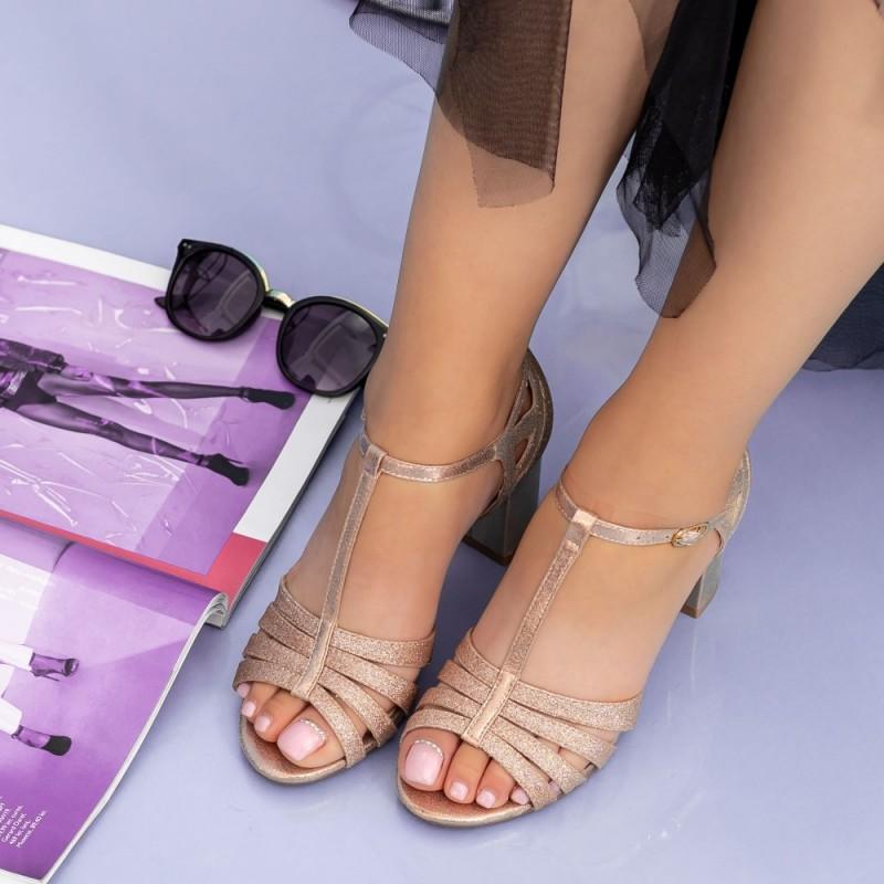 Sandale Dama cu Toc gros XKK227A Champagne Mei