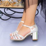 Sandale Dama cu Toc gros XKK227A Silver Mei