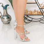 Sandale Dama cu Toc gros XKK221 Silver Mei