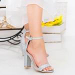 Sandale Dama cu Toc gros GE29A Silver Mei