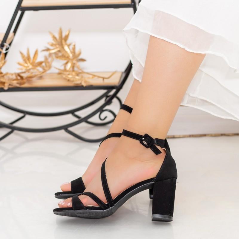 Sandale Dama cu Toc gros QZL219A Black Mei