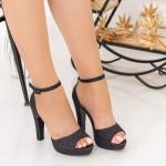 Sandale Dama cu Toc subtire si Platforma XD130A Black Mei