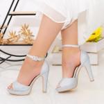Sandale Dama cu Toc subtire si Platforma XD130A Silver Mei