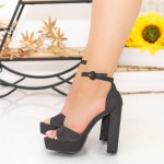 Sandale Dama cu Toc gros si Platforma XD205A Black Mei