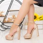 Sandale Dama cu Toc gros si Platforma XD205A Champagne Mei