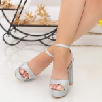 Sandale Dama cu Toc gros si Platforma XD205A Silver Mei