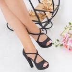 Sandale Dama cu Toc gros si Platforma XD206A Black Mei