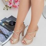 Sandale Dama cu Toc gros si Platforma XD206A Champagne Mei