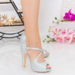 Sandale Dama cu Toc gros si Platforma XD206A Silver Mei