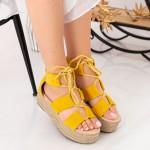 Sandale Dama cu Platforma OM5360 Yellow Small Swan