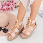 Sandale Dama cu Platforma OM5360 Pink Small Swan
