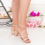 Sandale Dama cu Toc gros XDR275A Champagne Mei