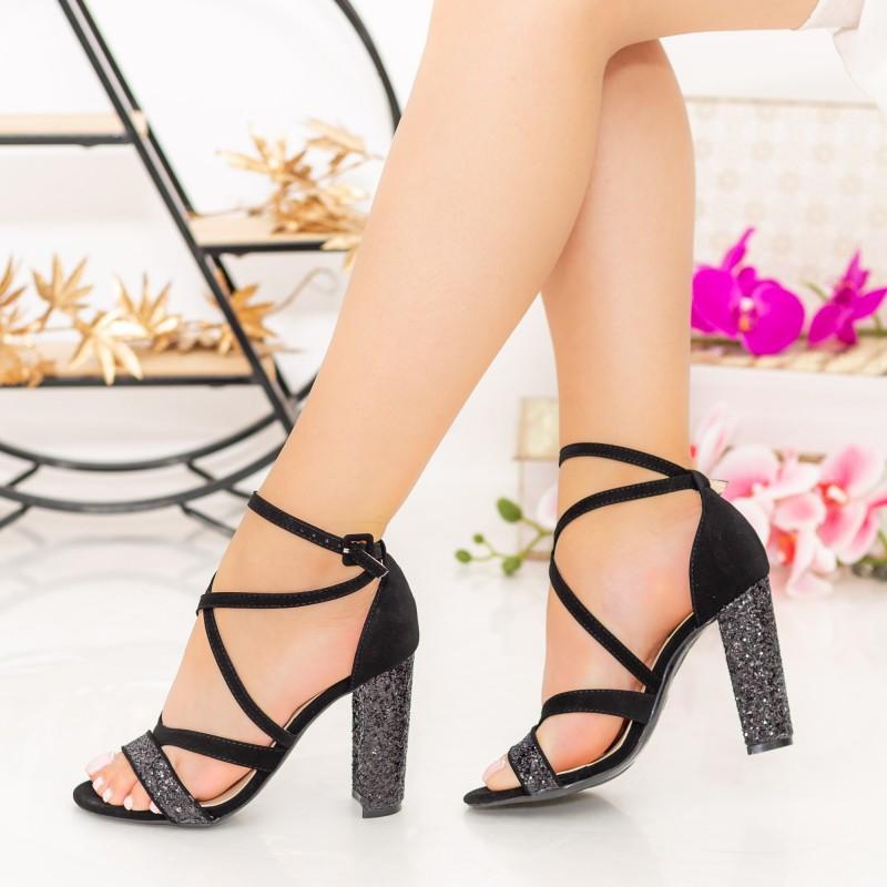 Sandale Dama cu Toc gros XKK89A Black Mei
