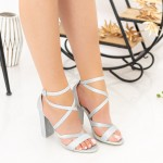 Sandale Dama cu Toc gros XKK89H Silver Mei