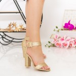 Sandale Dama cu Toc gros XKK161B Gold Mei