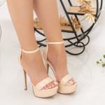 Sandale Dama cu Toc subtire si Platforma XKK171 Beige Mei
