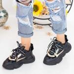 Pantofi Sport Dama cu Platforma LGYED3 Negru-Galben Mei