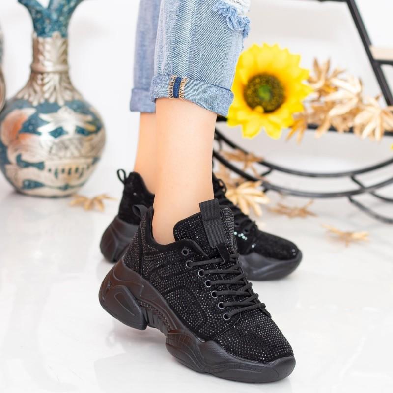 Pantofi Sport Dama cu Platforma LGYED5 Negru Mei
