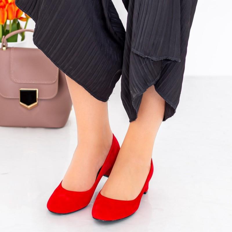 Pantofi cu Toc 063-5A Rosu Hebe