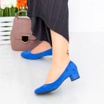 Pantofi cu Toc 063-5A Albastru Hebe