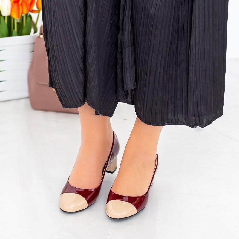 Pantofi cu Toc 063-5 Bej-Visiniu Hebe