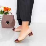 Pantofi cu Toc 063-5 Visiniu-Bej Hebe