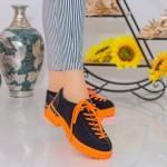 Pantofi Casual Dama MX155 Black-Orange Mei