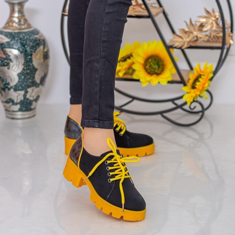 Pantofi Casual Dama ZP1972 Black-Yellow Mei