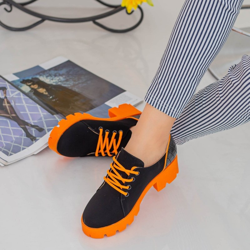 Pantofi Casual Dama ZP1972 Black-Orange Mei