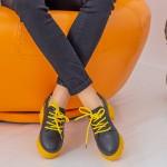 Pantofi Casual Dama ZP1973 Black-Yellow Mei