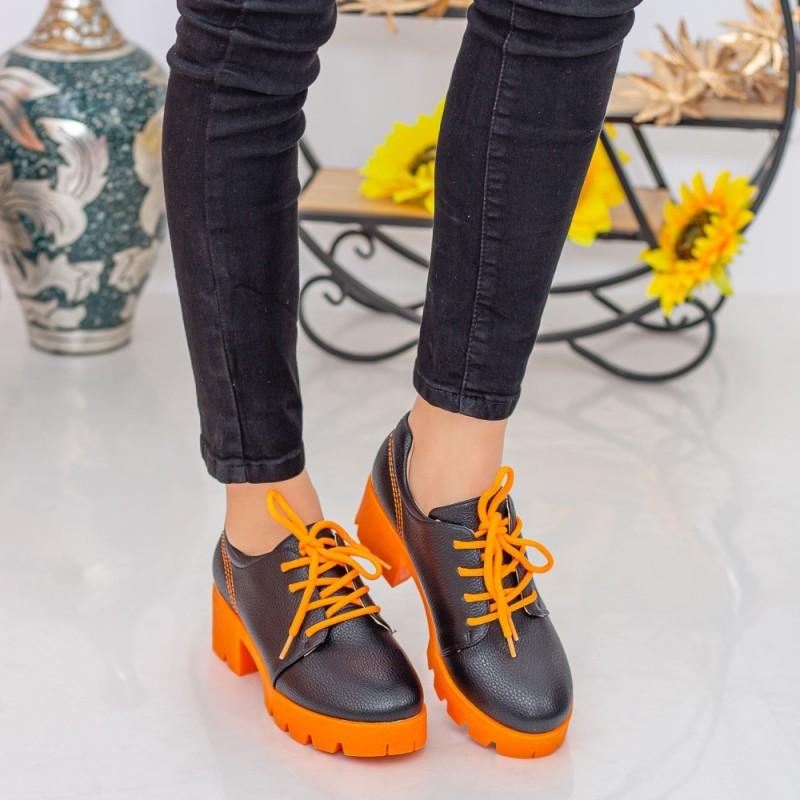 Pantofi Casual Dama ZP1973 Black-Orange Mei