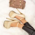 Pantofi cu Toc subtire si Platforma HS1 Auriu Mei