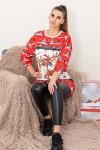 Rochie Dama 2556-46 Rosu-Alb Fashion