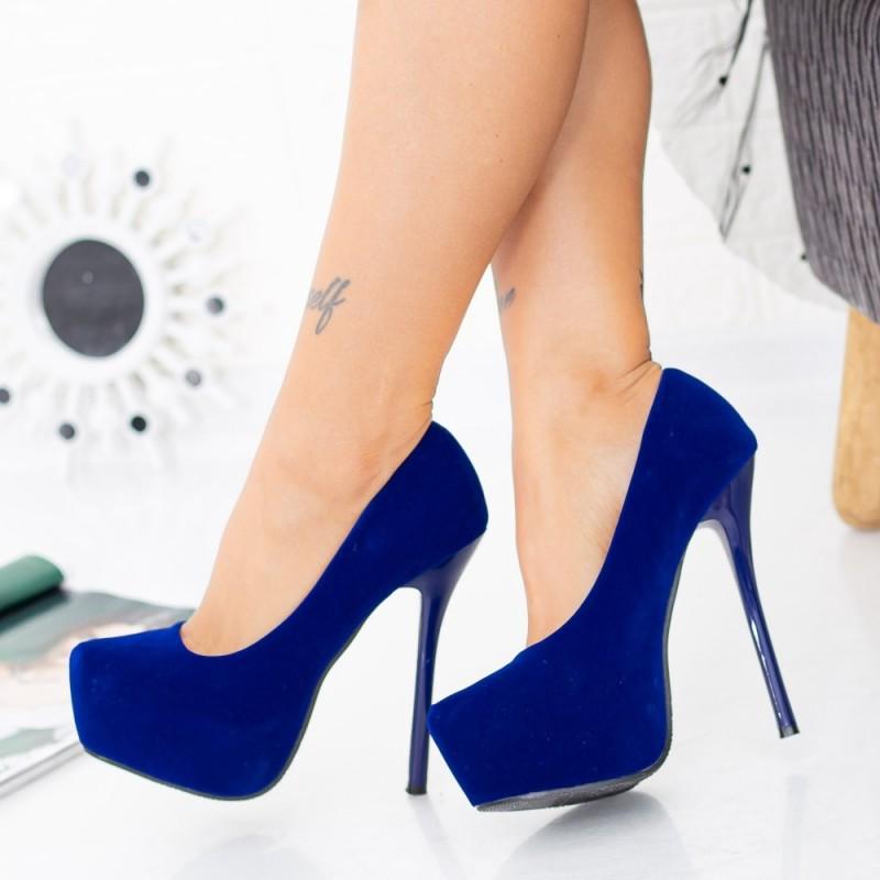 Pantofi cu Toc subtire si Platforma OLG1B Blue Mei