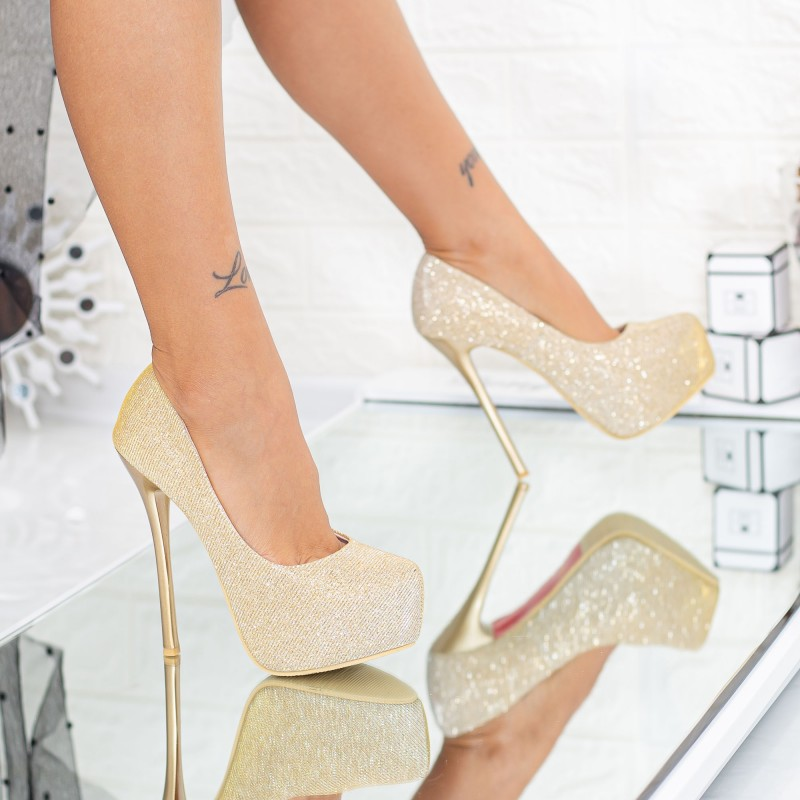 Pantofi cu Toc subtire si Platforma OLG1H Gold Mei