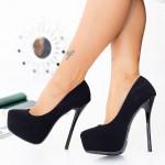 Pantofi cu Toc subtire si Platforma OLG1K Black Mei