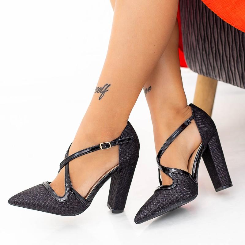 Pantofi cu Toc gros GE23 Black (D05) Mei