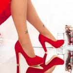 Pantofi cu Toc gros si Platforma XD26A Red Mei