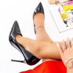 Pantofi cu Toc subtire AF21 Black Mei