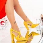 Pantofi cu Toc gros GE23A Yellow Mei