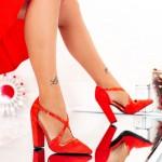 Pantofi cu Toc gros GE23A Red Mei