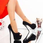 Pantofi cu Toc subtire si Platforma HLX76 Black Mei
