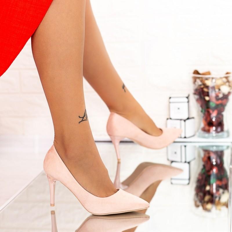 Pantofi cu Toc subtire LLH8 Pink Mei