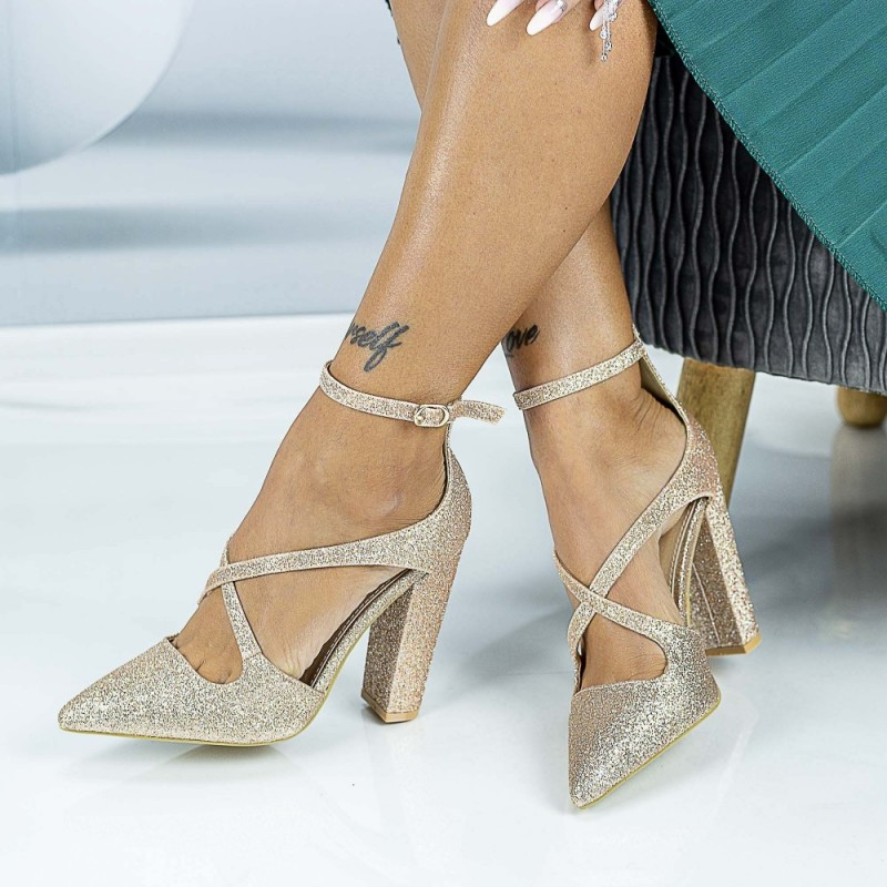 Pantofi cu Toc gros GE18A Gold Mei