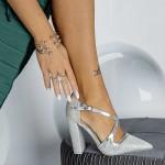 Pantofi cu Toc gros GE23 Silver Mei