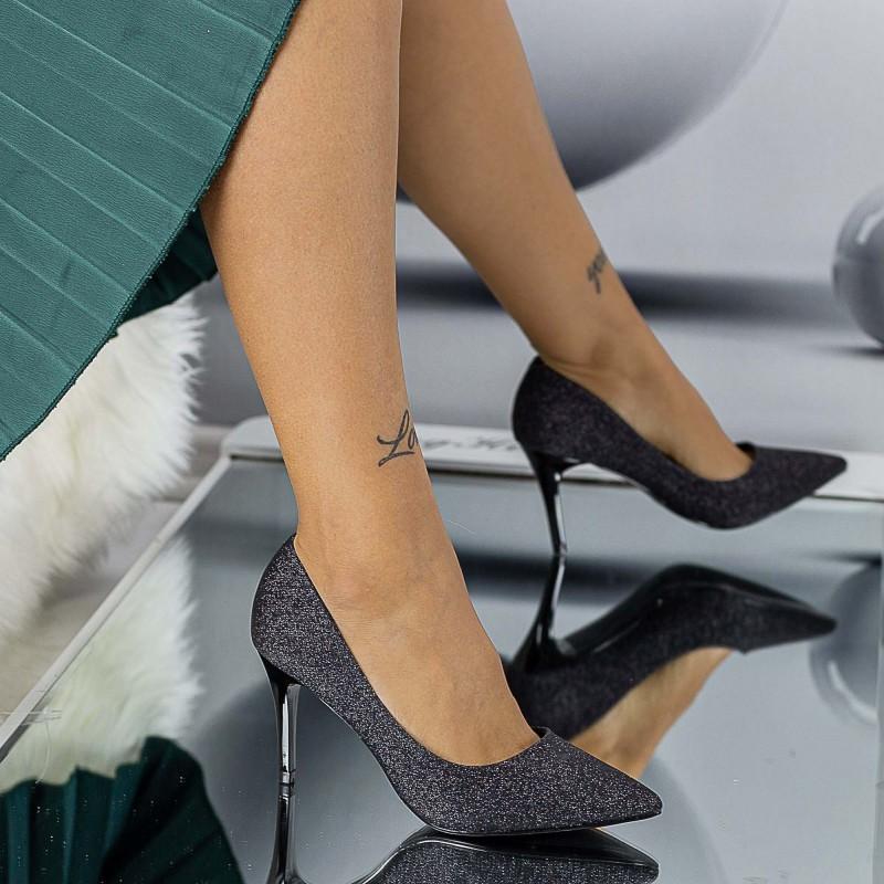 Pantofi cu Toc subtire LLH21 Black Mei