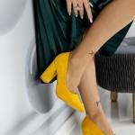 Pantofi cu Toc gros TY6 Yellow Mei