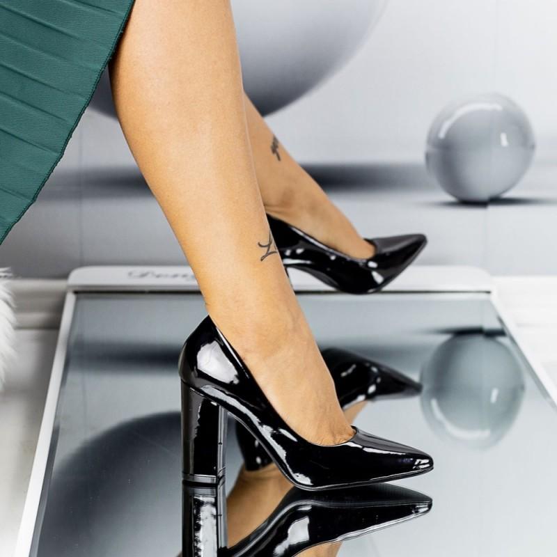 Pantofi cu Toc gros TY6B Black Mei